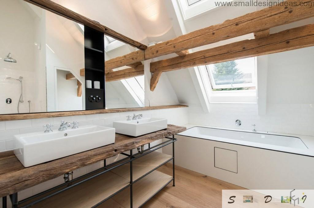 Opened wooden beams in the bathroom bring people closer to the nature