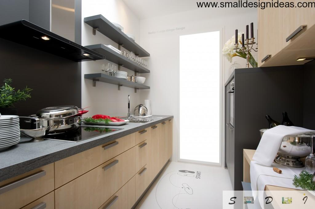Contrasting shelves and splashback in the white designed galley kitchen in modern minimalistic style