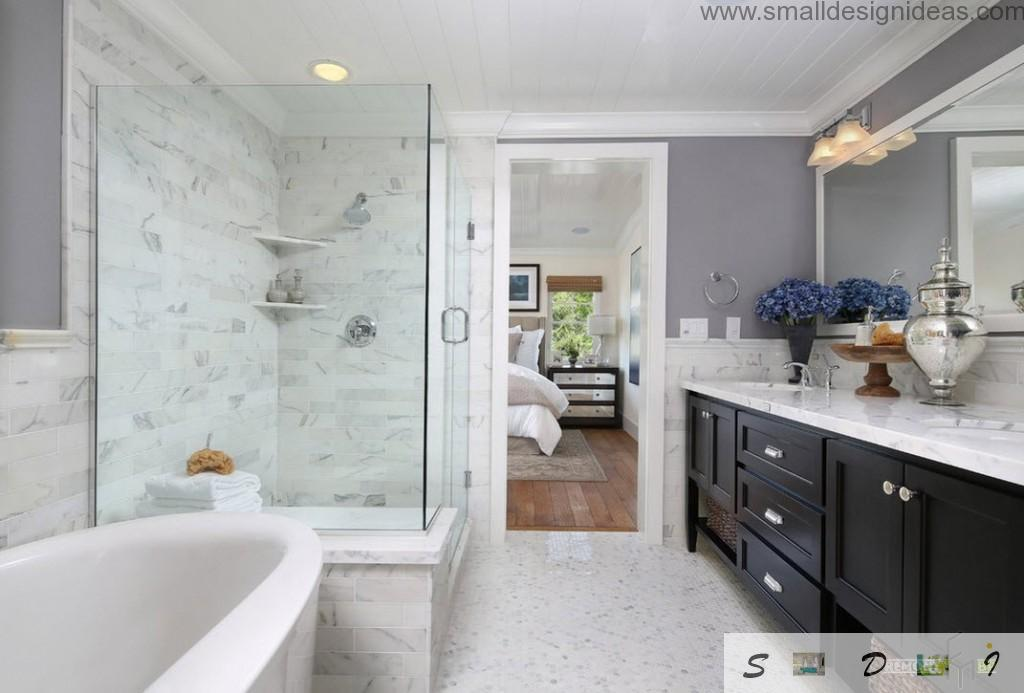 Black contrasting wooden furniture set in the white marble classic bathroom