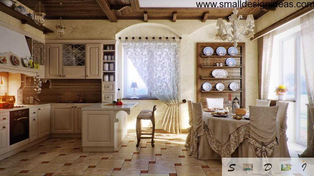 Fresh white country style kitchen full of textile and dishes