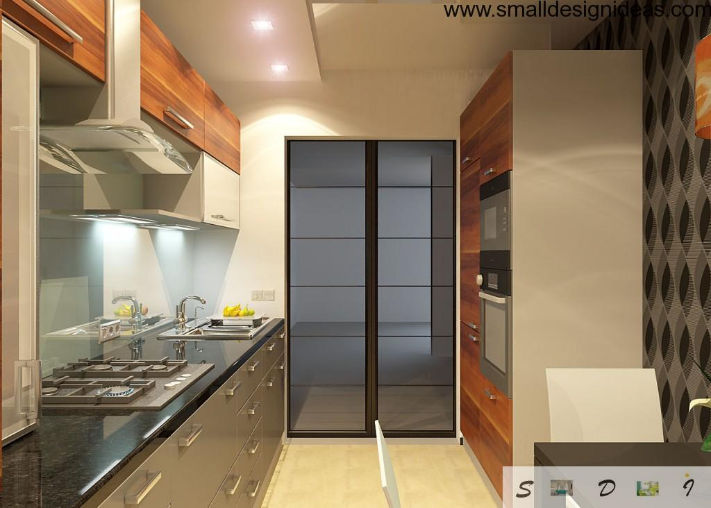 elongated galley kitchen design with modern minimalistic funriture set and all necessary appliances