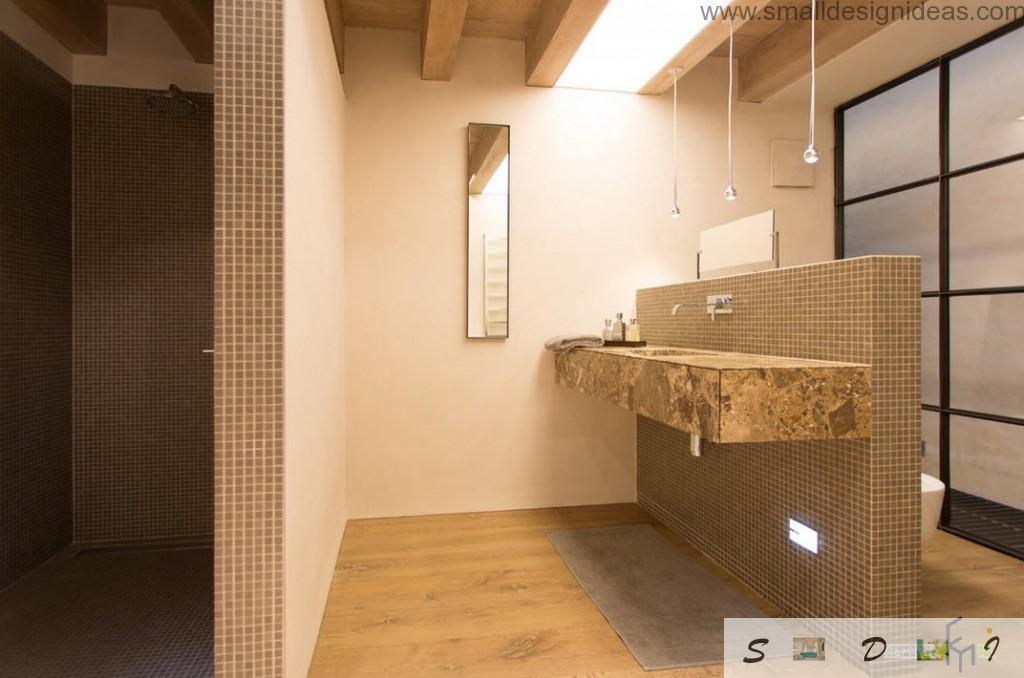 Minimalistic design in the contemporary design of the bathroom in pastel colors