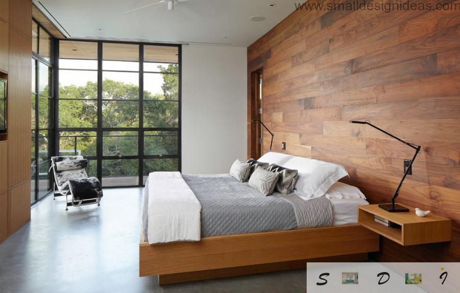 Fresh unique design of the bedroom in the house with wooden material and full of light