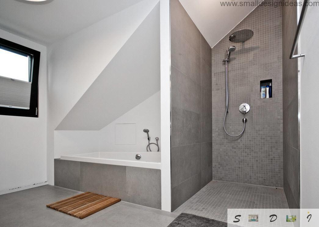 Bathroom tile ideas for Small bathroom with sloped ceiling