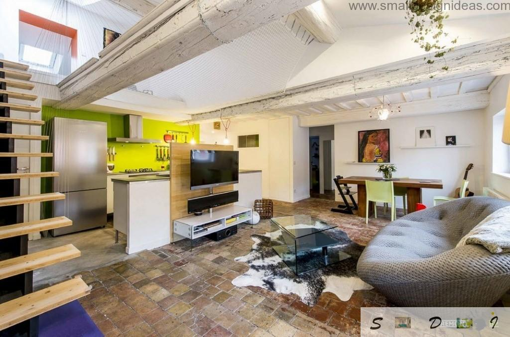 Electronics and upholstered furniture with furry carpet is the design idea for large loft living room