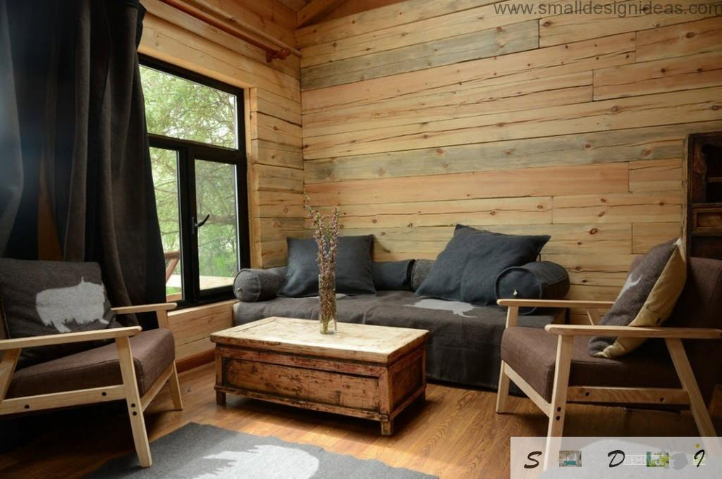 Nice design idea of the wooden living room in the country house