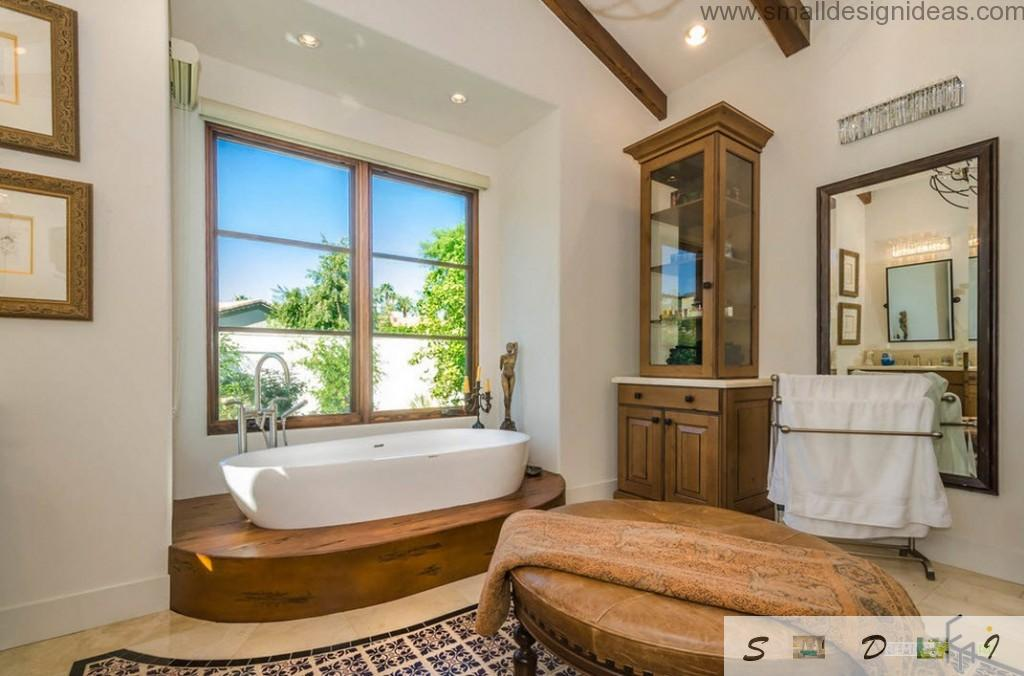 Wooden finishing and furniture for bathroom