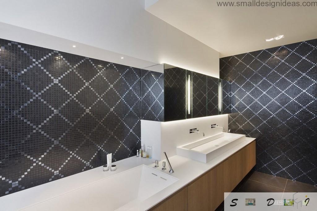 rhomboid decorative ornament of the dark walls in the modern bathroom