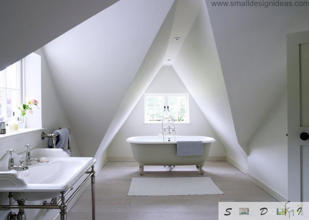 Unusual wall construction at the attic white bathroom creates unusual shades