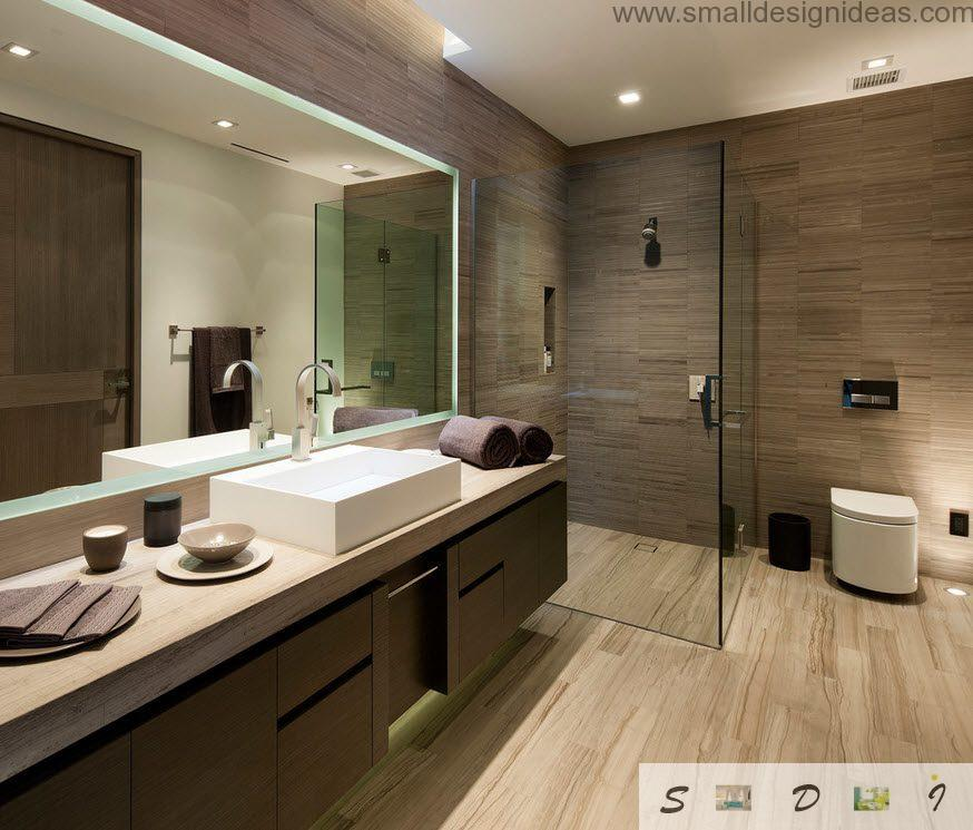 Wood imitation in the bathroom with porcelain tile