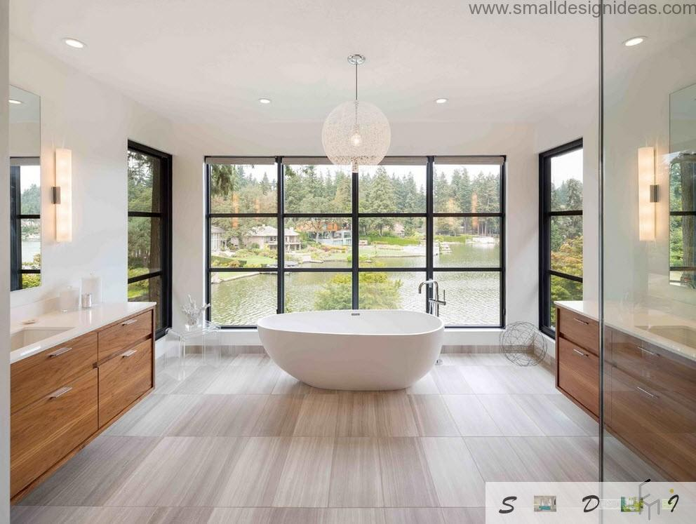 Bright wooden interior of the bathroom with classy natural laminate and bay windows