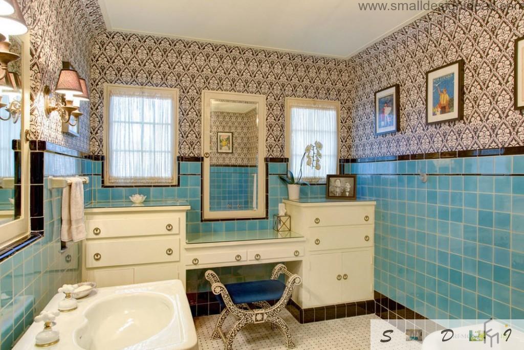 Blue shades in the classic bathroom interior
