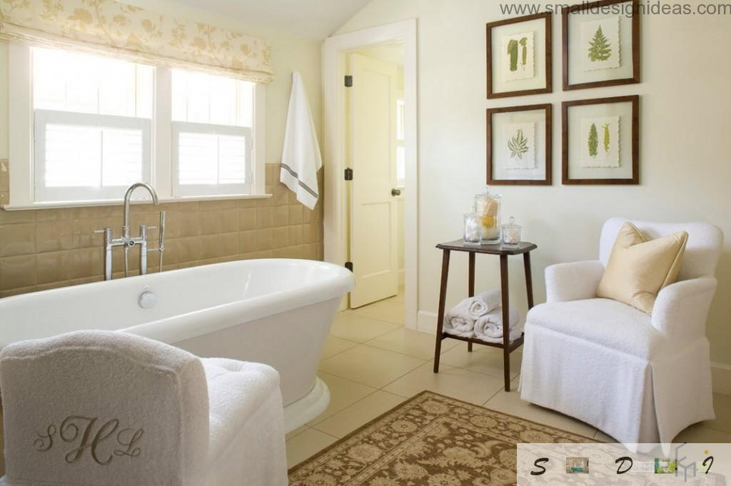 Modest and low-key design of the bathroom with pictures and rug at the floor