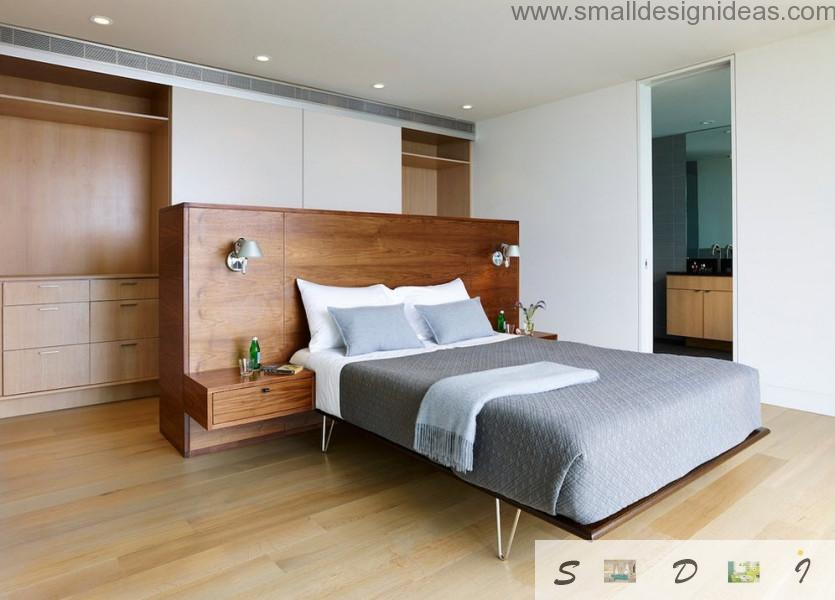 Wooden furniture and the gray notes in the modern design of the bedroom
