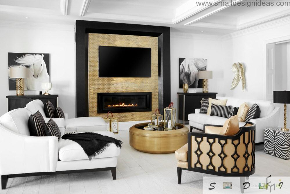 Fireplace in the small living room with light wooden colors and white paint