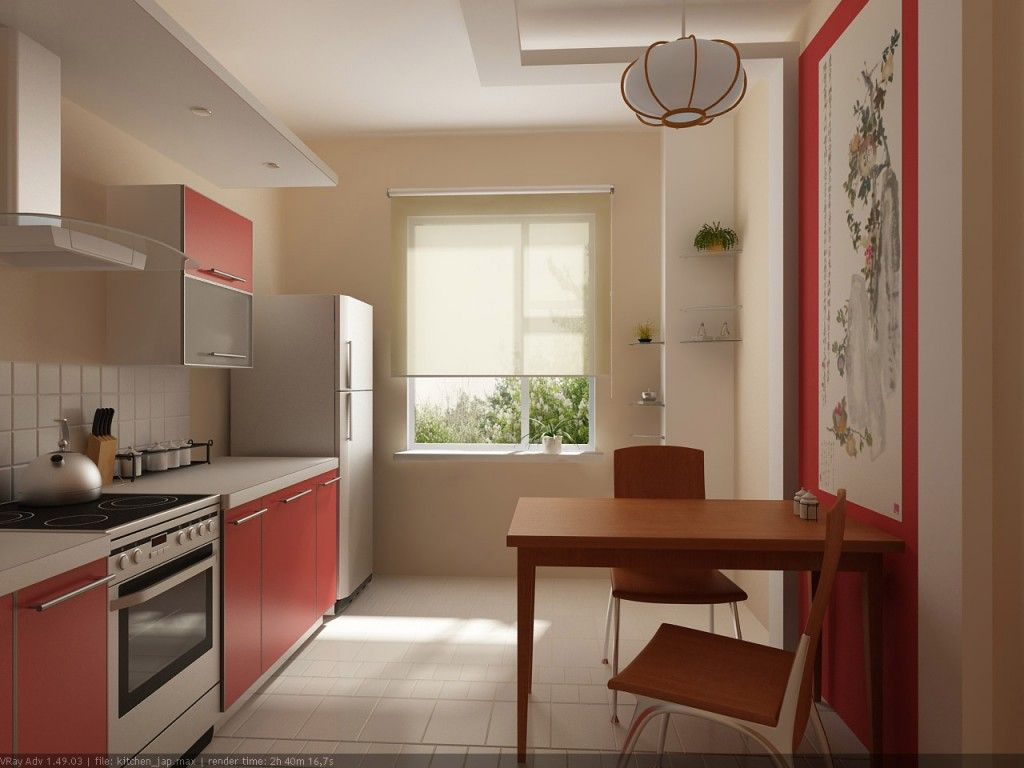 Discreet kitchen interior with red accents and minimalism style in the interior