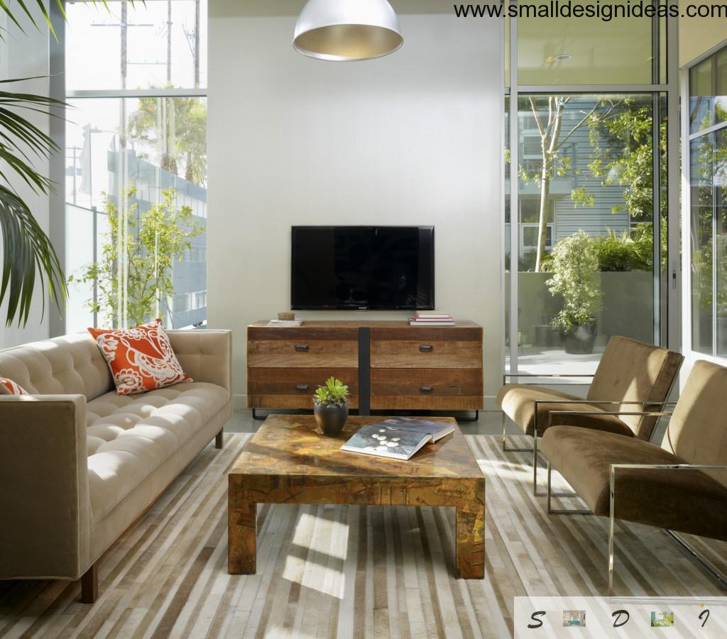 Bamboo linoleum and wooden striped furniture in the eco design living room to rest