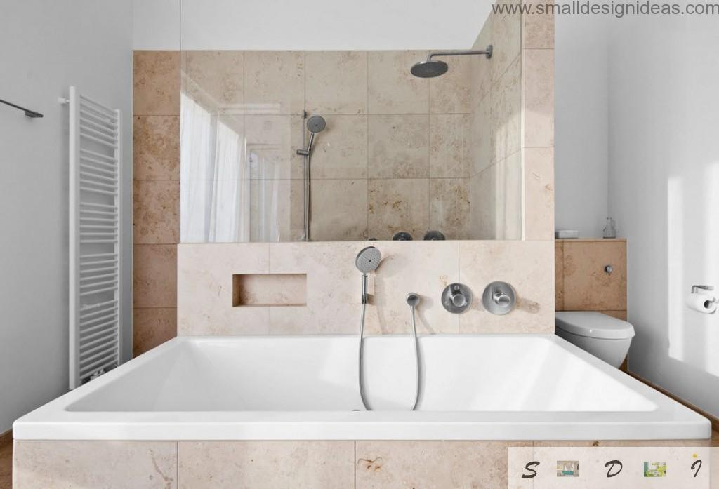 Noble patina marble in the ultramodern bath