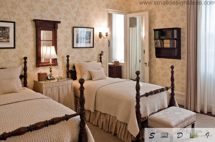 Creamy Colored Classic Interior Of The Bedroom With Carved Beds And Wooden  High Racks On Them