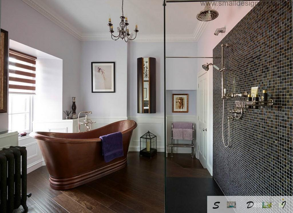 Dark bathtub in the classic bathroom interior