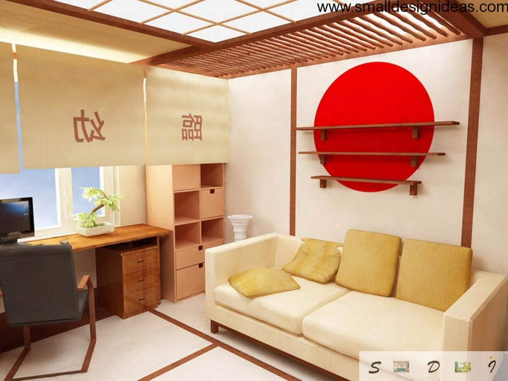 Japanese Interior Design Style in children`s room with evident decoration in Oriental elements