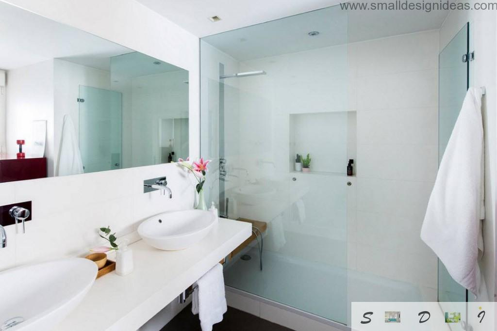 White cozy bathroom with glass shower cabine