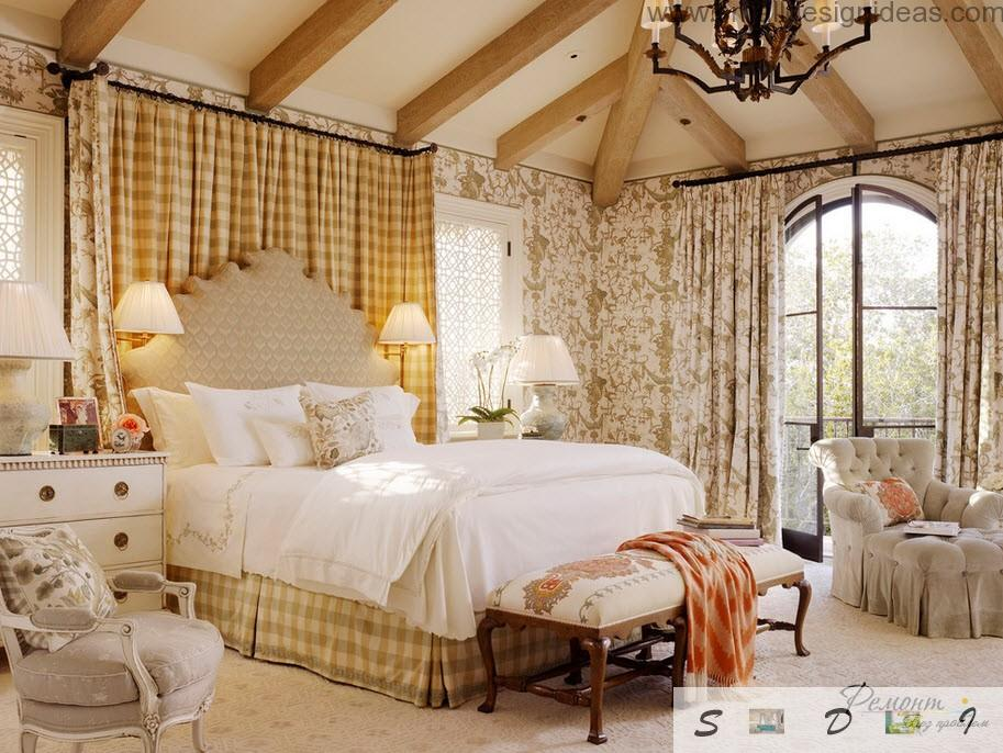 Classic bedroom interior with high ceiling and opened wooden beams