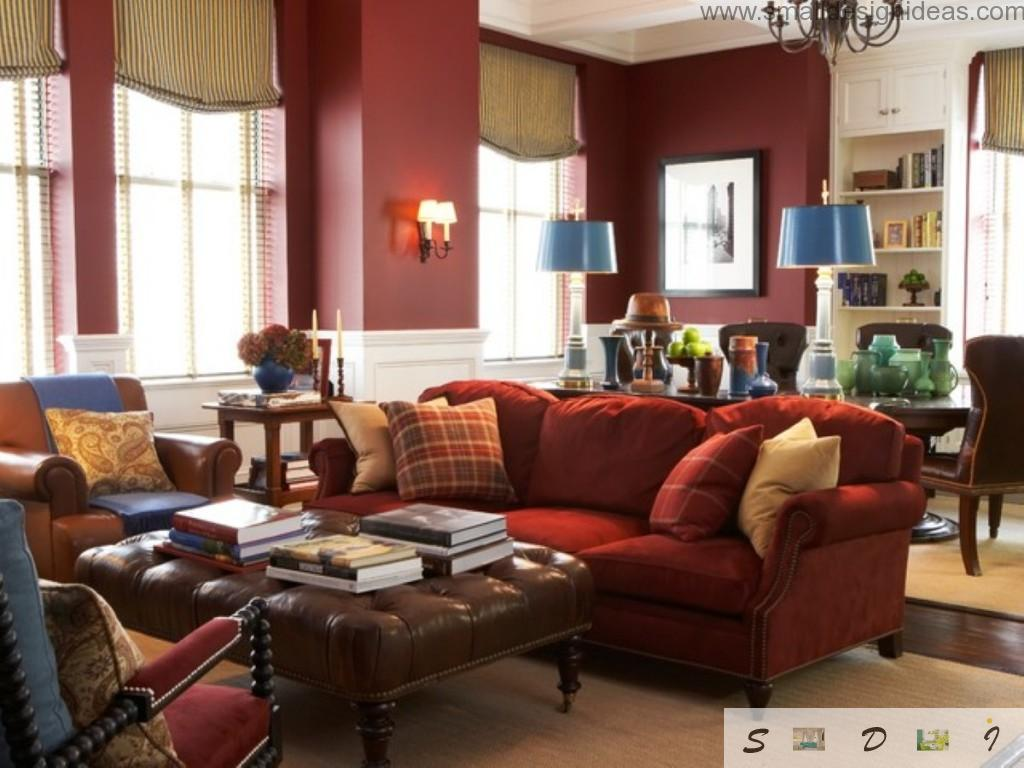 Small living room ideas in classic style with red furniture