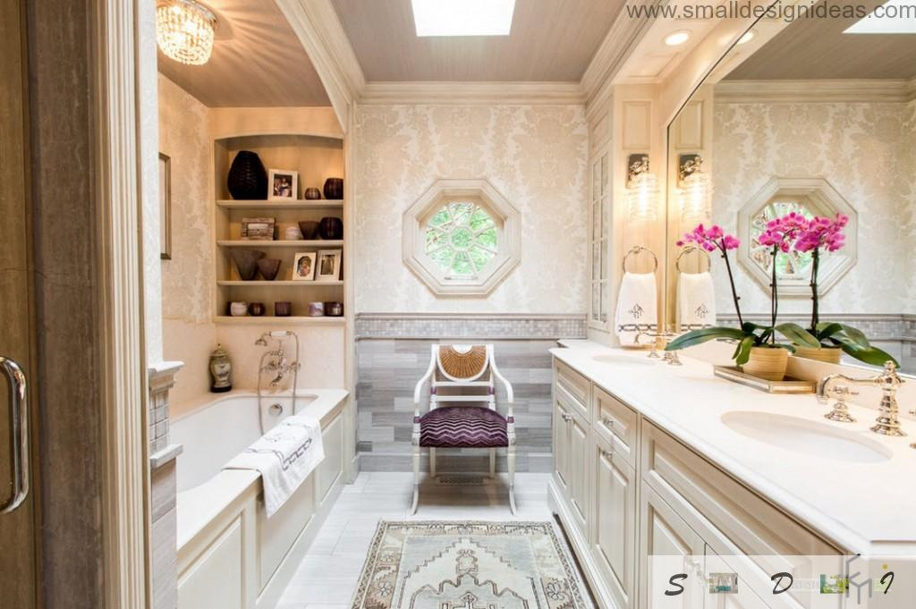 Royal interior of the bath with chair and carved wooden furniture in white color