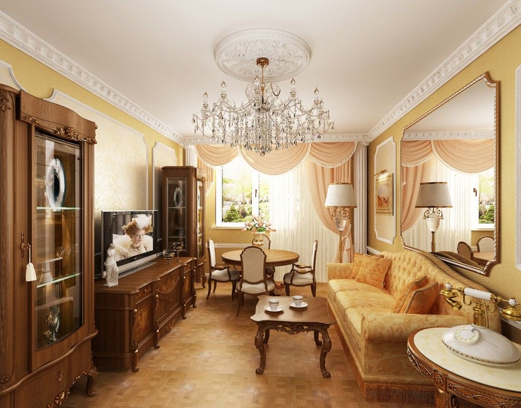 Classic look of the baroque style living room