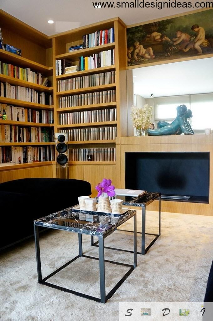 Living room with library zone in eclextic design style with steel coffee table