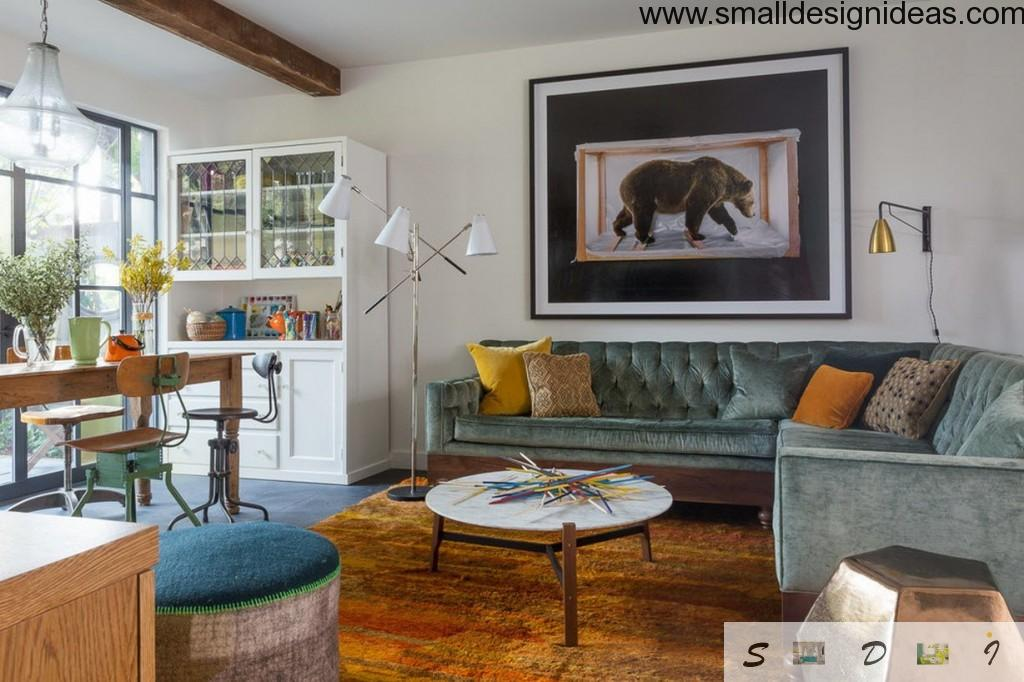 Picture With Bear In The Modern Living Room