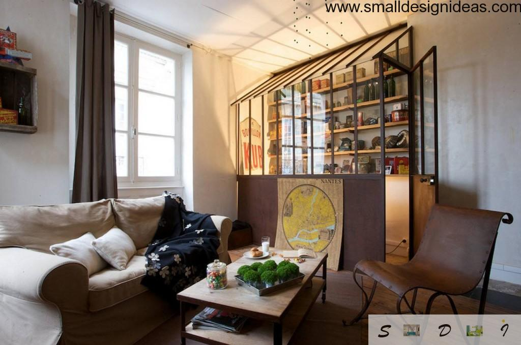Cozy and practical eclectic living room design for the collectioner and tourist