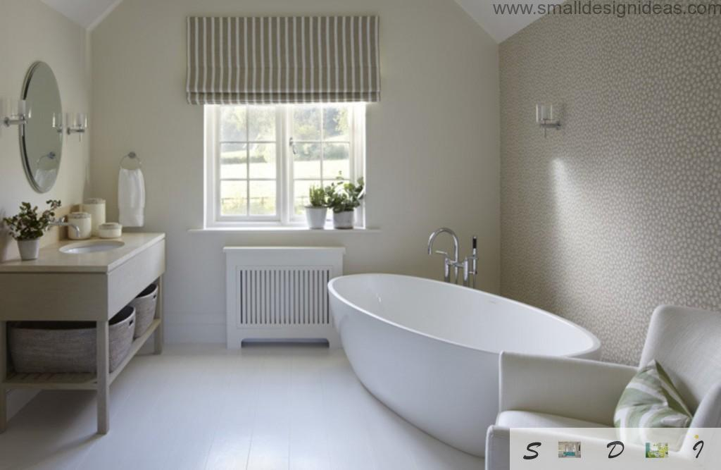 Decorative water resistant plaster for wall decoration of the white premise of the bathroom