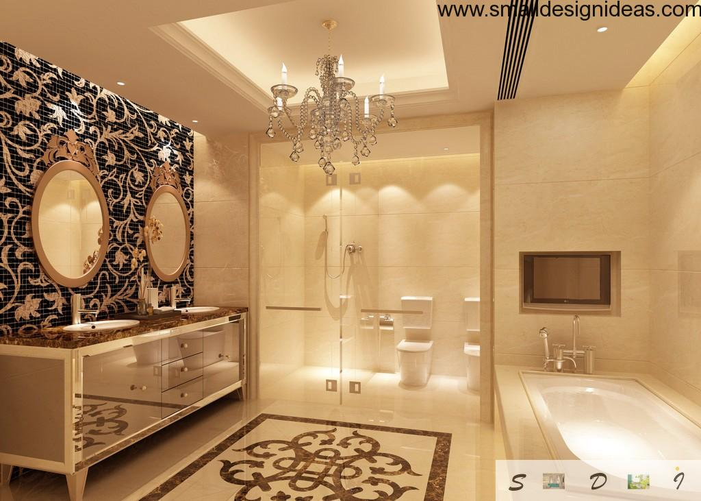 Contemporary finished Empire bathroom with elements of minimalism and hi-tech