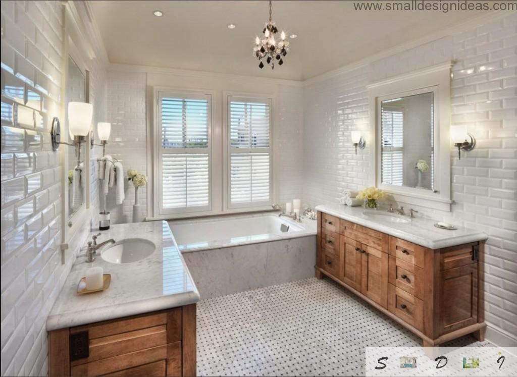 Wooden surfaces to decorate and dilute white decoration of the bathroom