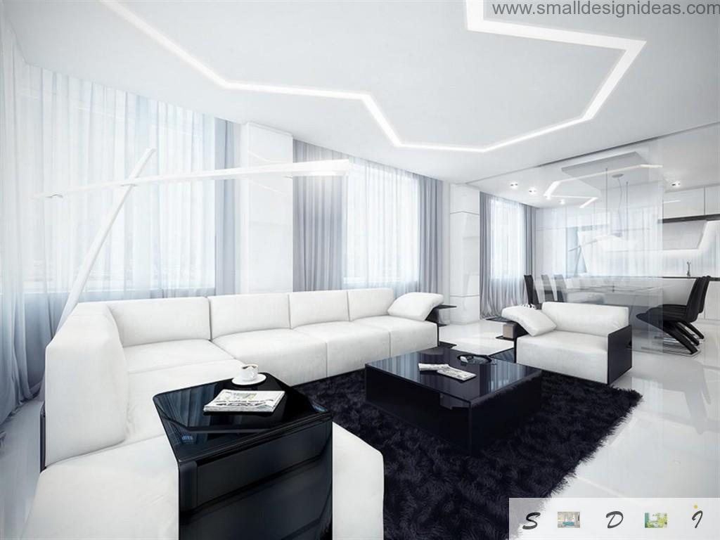 Black and white living room with unusual light construction, angle sofa and carpeting in front