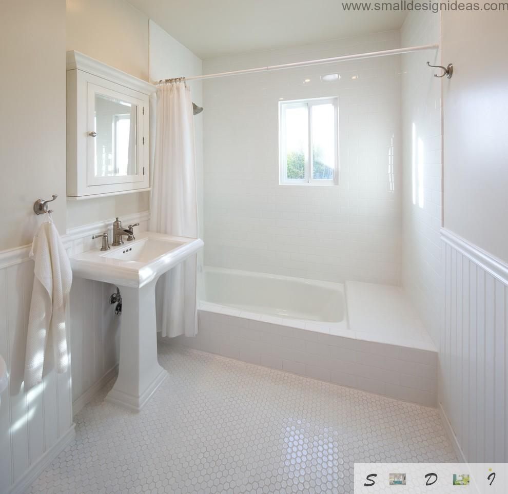 Metro tile in the white bathroom design idea