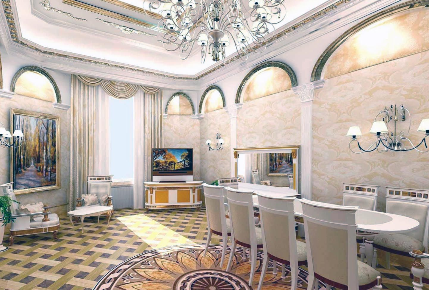 Interior Will Be Harmoniously Complemented By The Mirrors And Paintings In  Massive Frames, Heavy Drapes On Windows And Luxury Carpet.