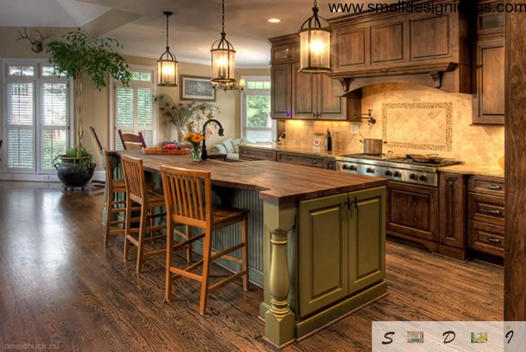 English style country kitchen design island layout and wooden trimming with park lanterns as a lights