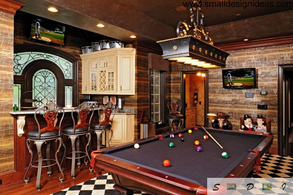 Playing billiard in the eclectic living room