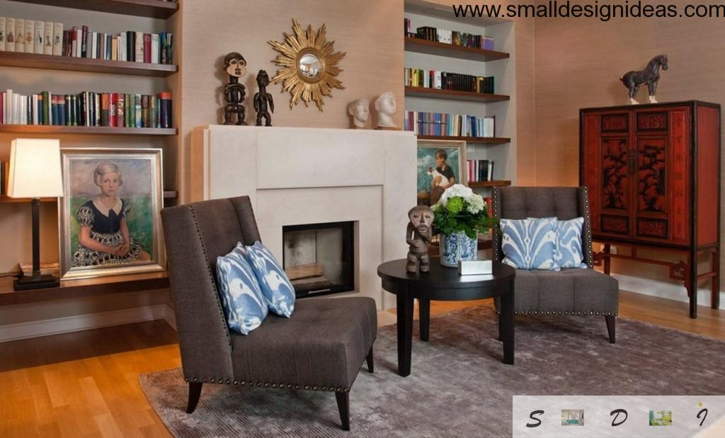 Living room interior with eclectic direction of the design and gray color gamma