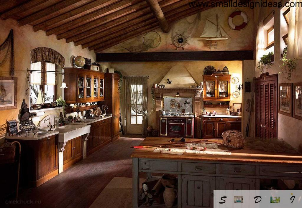 Dark country kitchen with notes of marine style