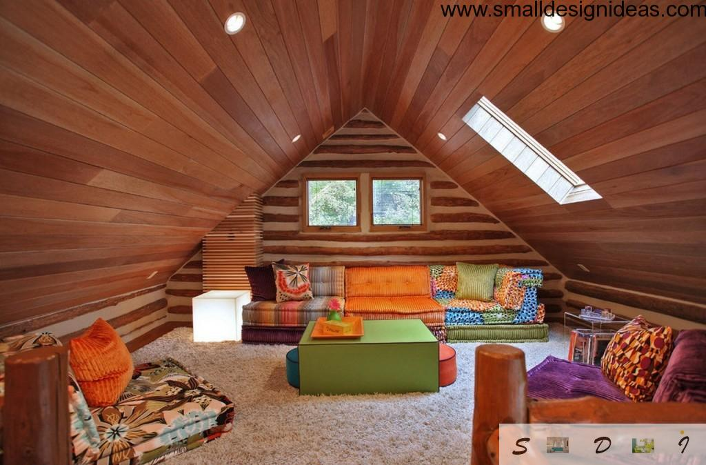 Wooden eclectic design interior for the attic living room premises