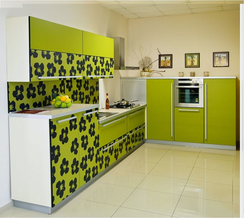 Furniture print and green color as the dominant in the small kitchen