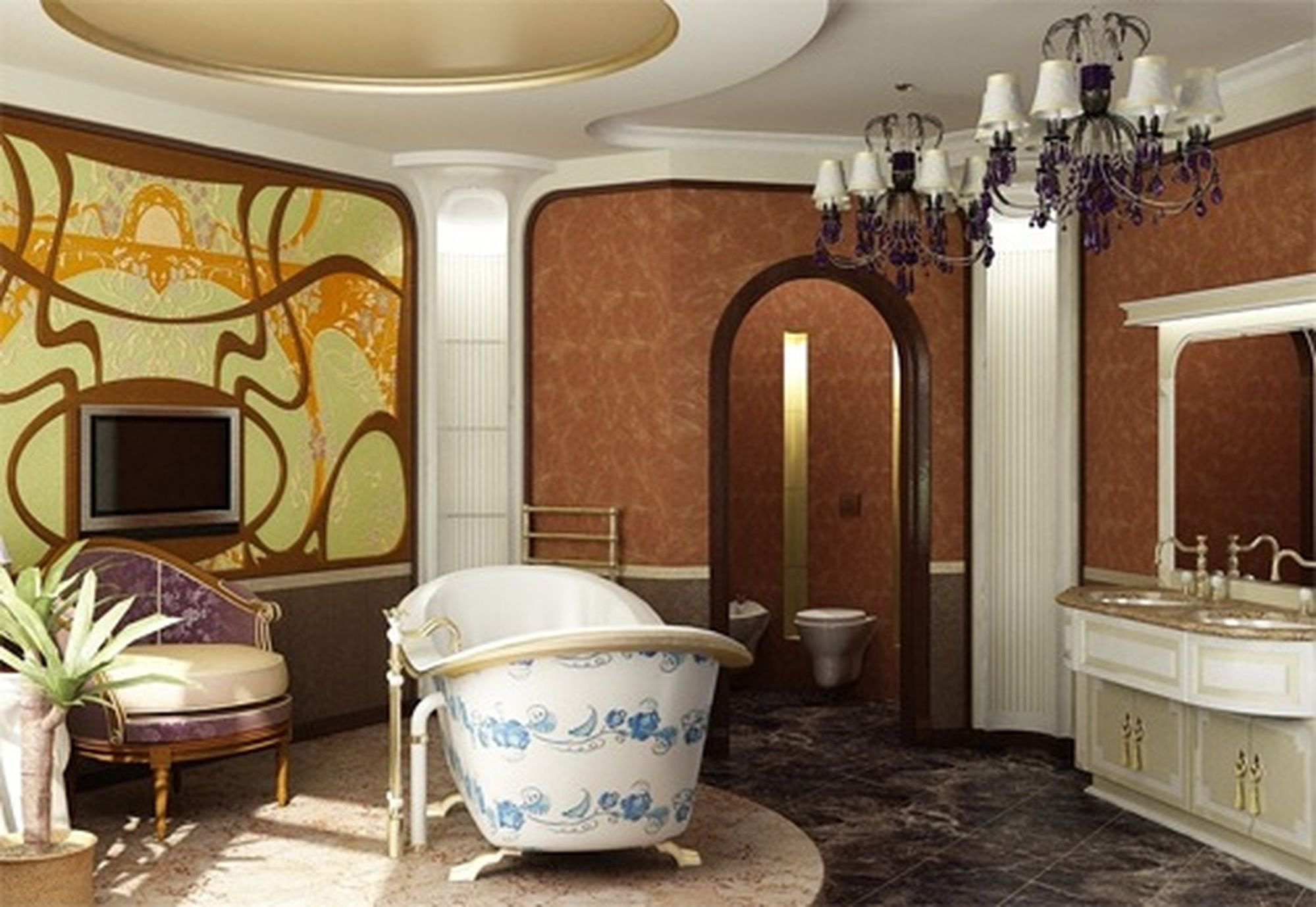 bathroom in the art nouveau style as well as other facilities can be decorated with stained glass windows artistic stained glass will be appropriate for - Art Nouveau Interior Design Style