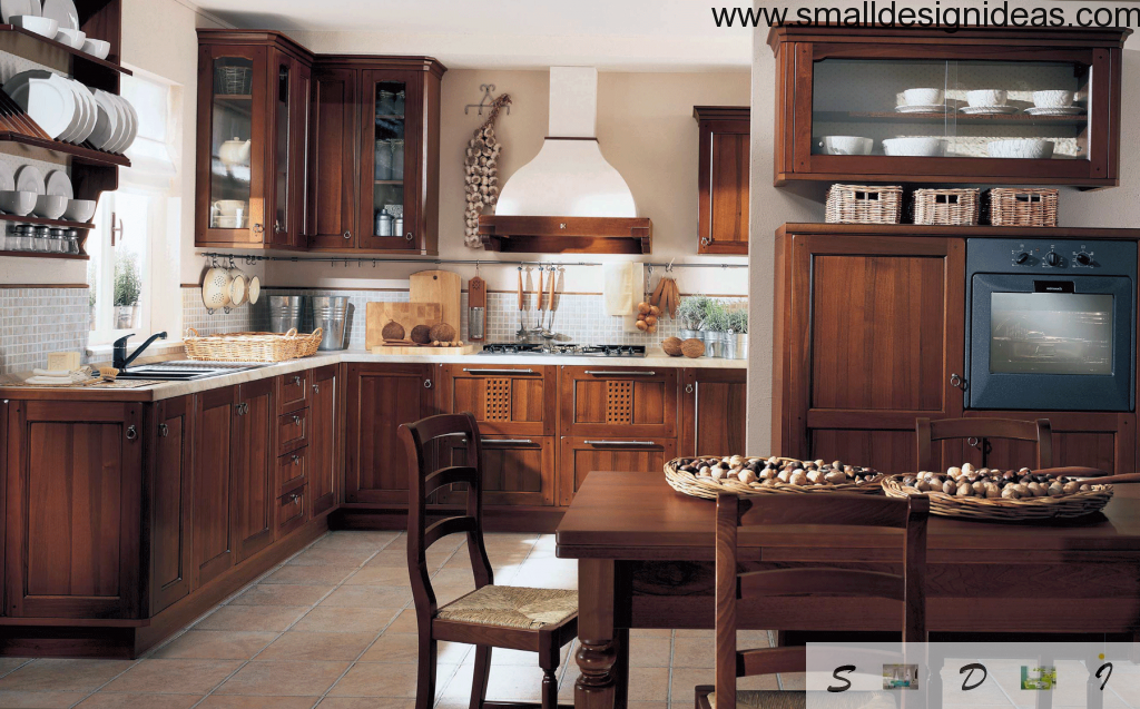 Wooden furniture at the country style kitchen with dining area