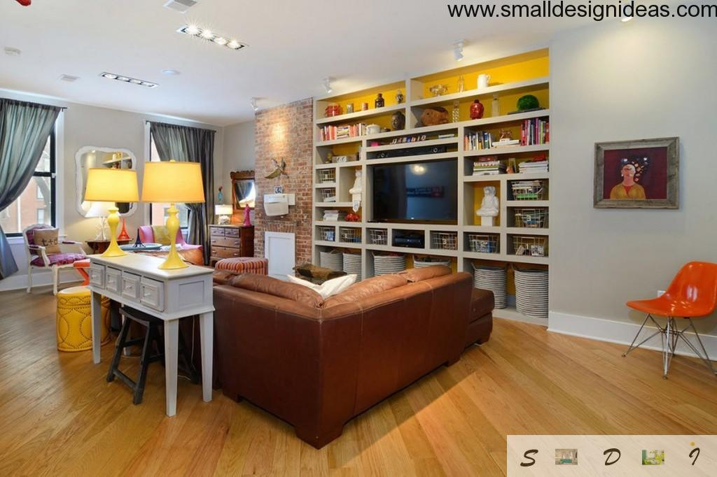 Open shelves in the modern living room interior