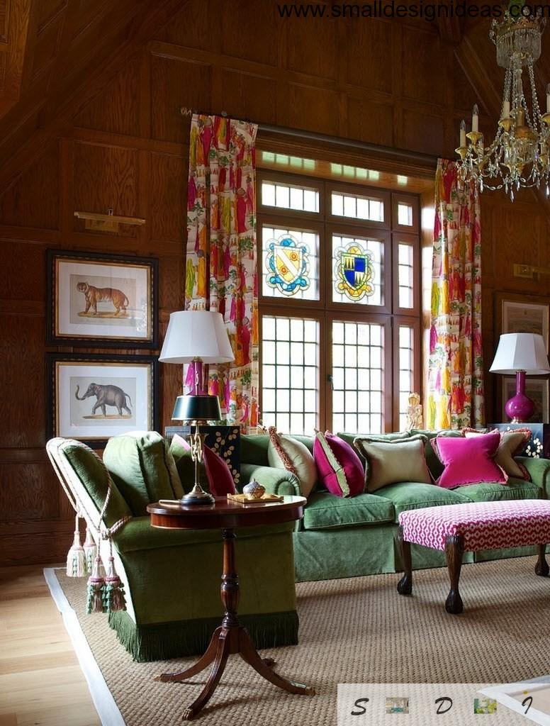 Interior design ideas living room in the eclectic style with lamps and plenty of textile