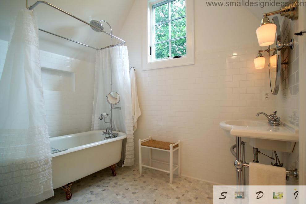 Mere rustic white interior design of the bathroom